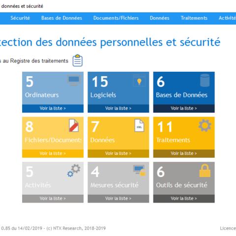 Menu Protection des données et sécurité